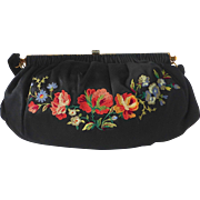 Art Deco French Floral Embroidered Black Silk Purse c1930s