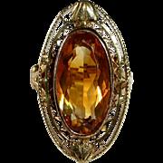 Edwardian 10k Yellow & Rose Gold Citrine Ring