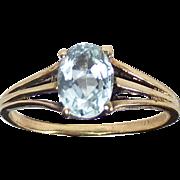 Aquamarine Mid Century 10k Yellow Gold Ring
