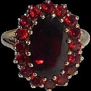 Victorian Revival 10k Garnet Cluster Ring