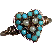 SALE 10k Victorian Rose Gold Heart Ring Pearls & Turquoise