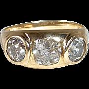 14k Art Deco Yellow Gold Inset Diamond Ring