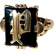 14k Yellow Gold & Onyx Initial 'P' Ring