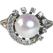 14k Art Deco Pearl & Diamond Crescent Ring