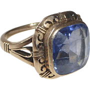 14k Rose Gold Art Deco RIng Synthetic Sapphire