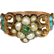 Georgian 15k Rose Gold Ring Emerald Seed Pearls Turquoise