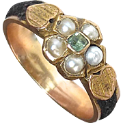15k Antique Mourning Ring Pearls~Emerald~Hair~Hearts
