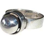 Modernist Finnish Sterling 'Silver Pearl' Ring