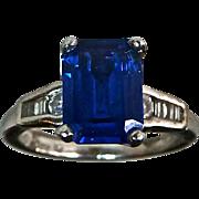Art Deco Platinum Ring Synthetic Sapphire & Diamonds
