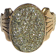 SOLD Victorian 10k Rose Gold Ring w Pyrite Crystal Cab