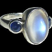 Moonstone & Sapphires Sterling Ring