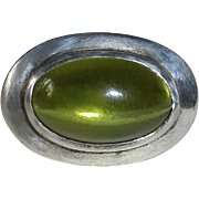 Sterling Silver Ring Large Tourmaline Glass Cabochon