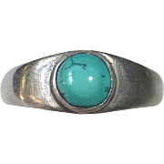 Sterling Ring with Turquoise Cabochon