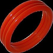 Set of 3 Orange Bakelite Bangle Bracelets