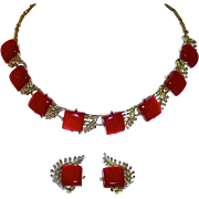Coro Gold Tone Red Moonglow Necklace & Earrings Set