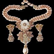 Stanley Hagler NY Signed Statement Necklace & Earring Set