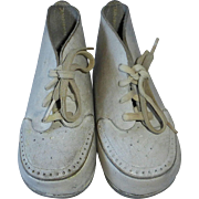 White Leather Baby Shoes Perforated Toes