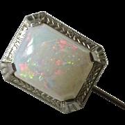 14k White Gold Opal Stickpin