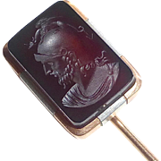 Antique 15k & Platinum Carnelian Intaglio Stickpin