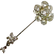 Miriam Haskell Layered Pansy Stickpin Faux Pearls