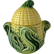 Figural Corn Ceramic Lidded Sugar Bowl