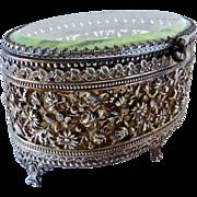 Filigree & Beveled Glass Trinket Box w Original Silk Liner