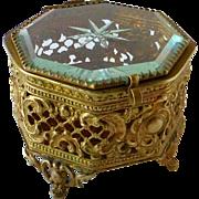 Gold Tone Octogonal Metal Filigree & Beveled Glass Trinket Box