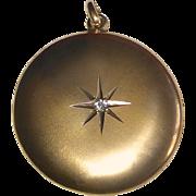 10k Antique Victorian Locket Engraved Star & Diamond