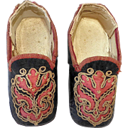 SOLD Antique Embroidered Leather & Silk Baby Shoes