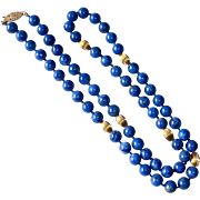 Natural Undyed Lapis Lazuli & 14k Fluted Gold Bead Necklace