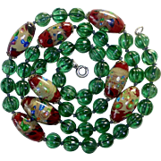 Art Deco Venetian Foil Beads & Green Melon Glass Bead Necklace