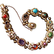 14k Victorian Revival Slide Bracelet w Gemstones