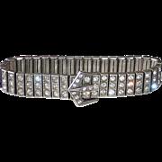 Art Deco Sterling & Paste Triple Row Buckle Bracelet c1920s