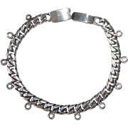 Mexican Sterling Heavy Curb Link Charm Bracelet
