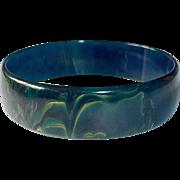Blue Moon End of the Day Swirl Bakelite Bangle Bracelet