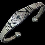 Vintage Ethnic Engraved & Inlaid Aluminum Bracelet