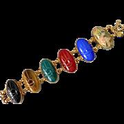 Egyptian Revival Uncas GF Semi Precious Stone Scarab Beetle Bracelet