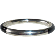Mexican Sterling Bangle Bracelet Inlaid Onyx