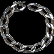 Heavy Sterling Silver Oval Flat Link Curb Chain Bracelet