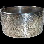Wide Engraved English Sterling Hinged Bangle Bracelet