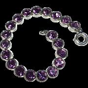 Art Deco Sterling Line Bracelet Purple Paste