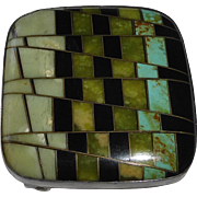 Native American Sterling Stone Inlay Belt Buckle