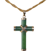 Jade & Sterling Vermeil Cross & Chain Necklace