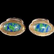 Art Deco Gold Filled Art Glass Cufflinks