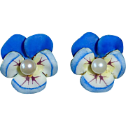 14k Art Nouveau Enamel Pansy Earrings w Pearls