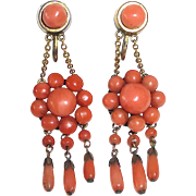 Victorian Gold Filled Natural Coral Rosette Earrings w Drops