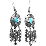 Native American Sterling & Turquoise Feather Drop Earrings