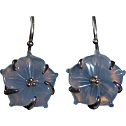 Sterling Silver Earrings Carved Chalcedony Flowers