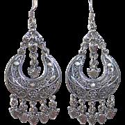 Sterling Filigree Crescent Pierced Earrings w Dangles