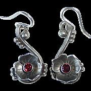 Sterling Floral Drop Pierced Earrings w Garnets